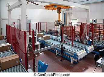 automatisé, entrepôt, à, robots