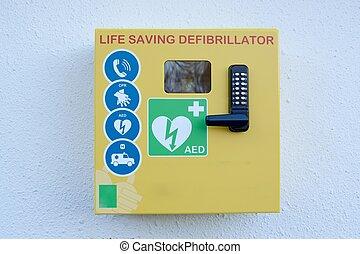 automatiserat, yttre, defibrillator