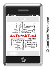 automatisering, woord, wolk, concept, op, touchscreen, telefoon