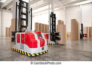 automatizált, raktárépület, targonca, robotic, (paper)