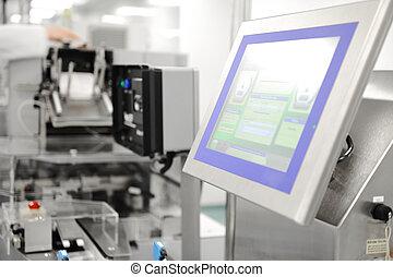 automatizált, szériagyártás, alatt, modern, gyár