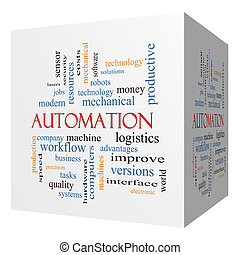 automatización, 3d, cubo, palabra, nube, concepto