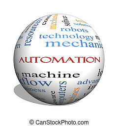 automatización, 3d, esfera, palabra, nube, concepto
