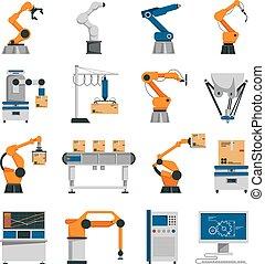 automatización, iconos, conjunto