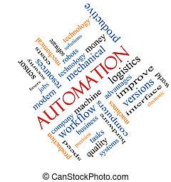 automatización, palabra, nube, concepto, angular