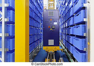 automatizado, armazenamento, armazém
