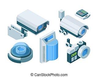 automatizado, elegante, camaras, ptz, protección, set., electrónico, moderno, vector, isométrico, isometric., cámara, seguridad, cúpula, interruptor, cerradura, hogar, technology., vigilancia, calle, oficina