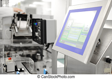 automatizado, línea de montaje, en, moderno, fábrica