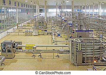 automatizado, línea de montaje, en, moderno, lechería,...