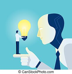 Vector of a robot learning from a businessman with bright idea light bulb