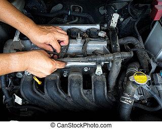 automechaniker, arbeitende , in, autoreparatur, service