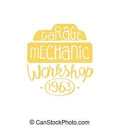 automechaniker, gelber , weinlese, briefmarke