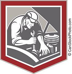 automechaniker, reparatur, auto, schutzschirm, retro