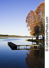 automn, 장면, 얼마 만큼, 그만큼, 호수