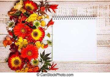 automnal, fleurs, baies