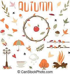 automne, éléments, vecteur, collection, design.