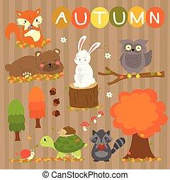 automne, éléments, vecteur, ensemble, animaux