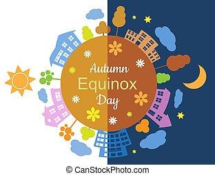 automne, équinoxe, jour, nuit