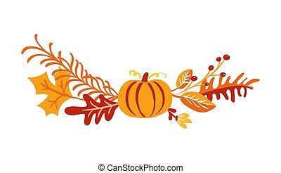 automne, érable, saisonnier, isolé, blanc, elements., baies, fetes, arrière-plan., thanksgiving, vecteur, jour, bouquet, orange, parfait, citrouille, feuilles