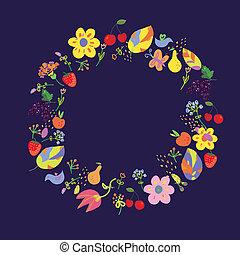 automne, été, cercle, fllowers, fruits