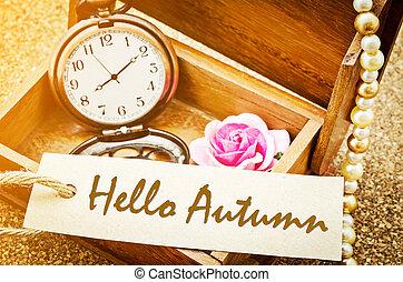 automne, étiquette papier, vint, bonjour