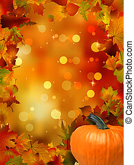 automne, 8, potirons, leaves., eps