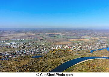 automne, aérien, paysage, de, tura, rivière, dans, russie
