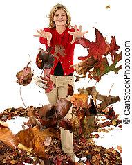 automne, adolescent, feuilles
