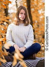 automne, adolescent, jardin, girl, séance