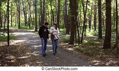 automne, aller, parc, famille, enfant