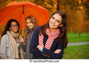 automne, amis, parc