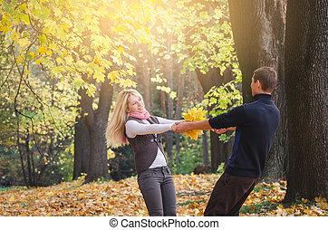 automne, amusement, couple, parc, avoir