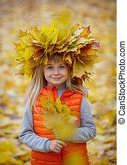 automne, amusement, girl, parc, avoir