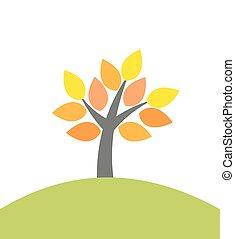 automne, arbre, colline