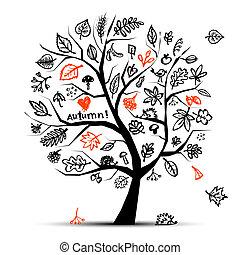 automne, arbre, croquis, dessin, pour, ton, conception