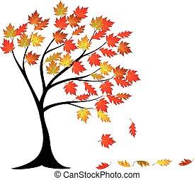 automne, arbre, dessin animé