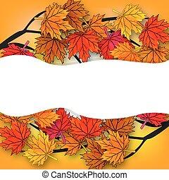 automne, arbre diverge, sien, érable