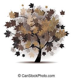 automne, arbre, feuille, érable, automne