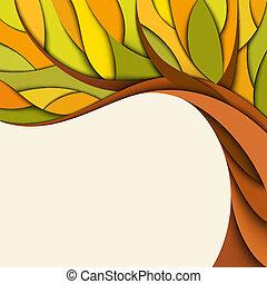 automne, arbre, fond
