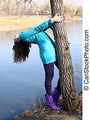 automne, arbre, girl, parc, pendre