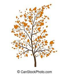automne, arbre, icône