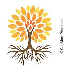 automne, arbre, illustration