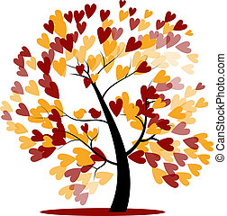 automne, arbre, mariage