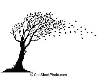 automne, arbre, silhouette