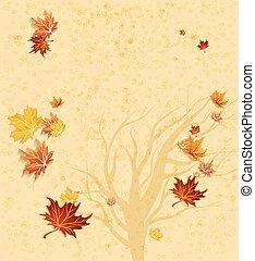 automne, arbre, silhouette, fond