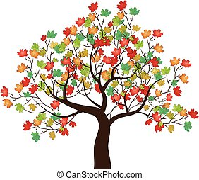 automne, arbre, vecteur, -, érable