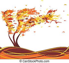 automne, arbre, vecteur, grunge, wind.