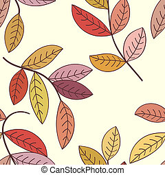automne, arrière-plan., feuilles, seamless