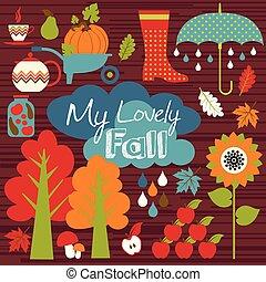 automne, arrière-plan., mettez stylique, element.