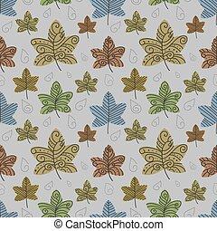 automne, arrière-plan., vecteur, eps10, pousse feuilles
